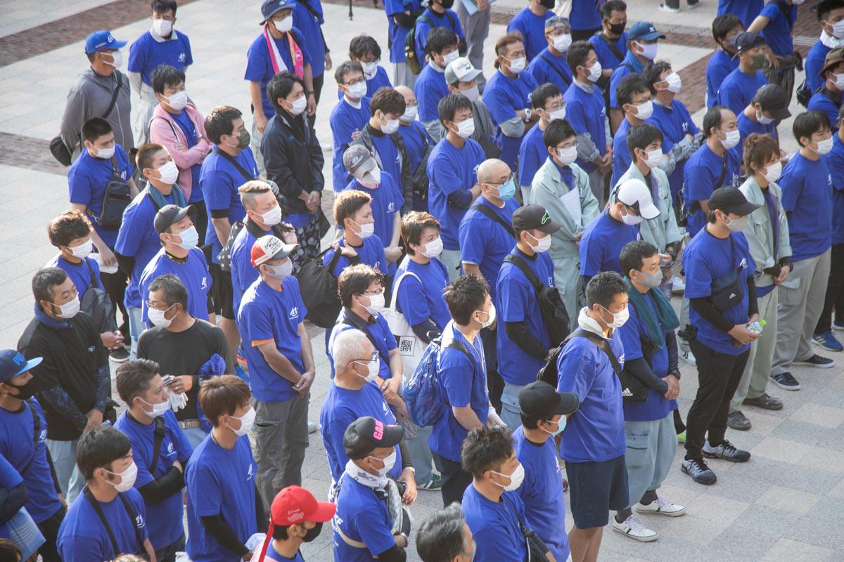 写真:当日の朝にぱれっとごうつ広場に集合するA1市街地グランプリGOTSU2020設営・撤去ボランティア